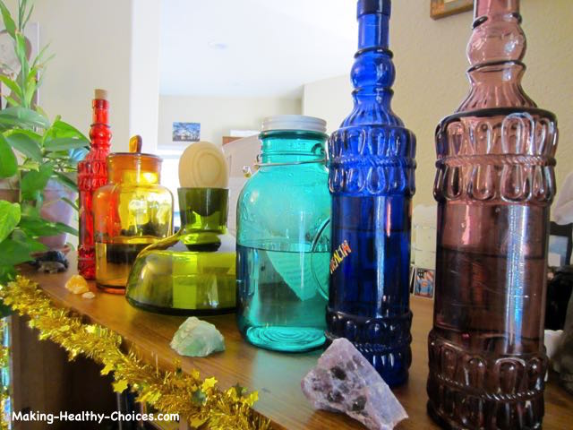 Storing Water in Coloured Glass Bottles