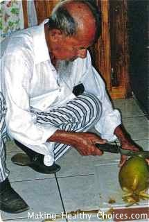 Fresh Coconut being Opened