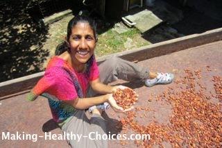 Nadia holding Raw Cacao Beans