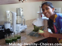 Nadia making green juice