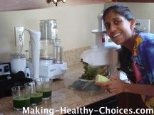 Nadia making green juice