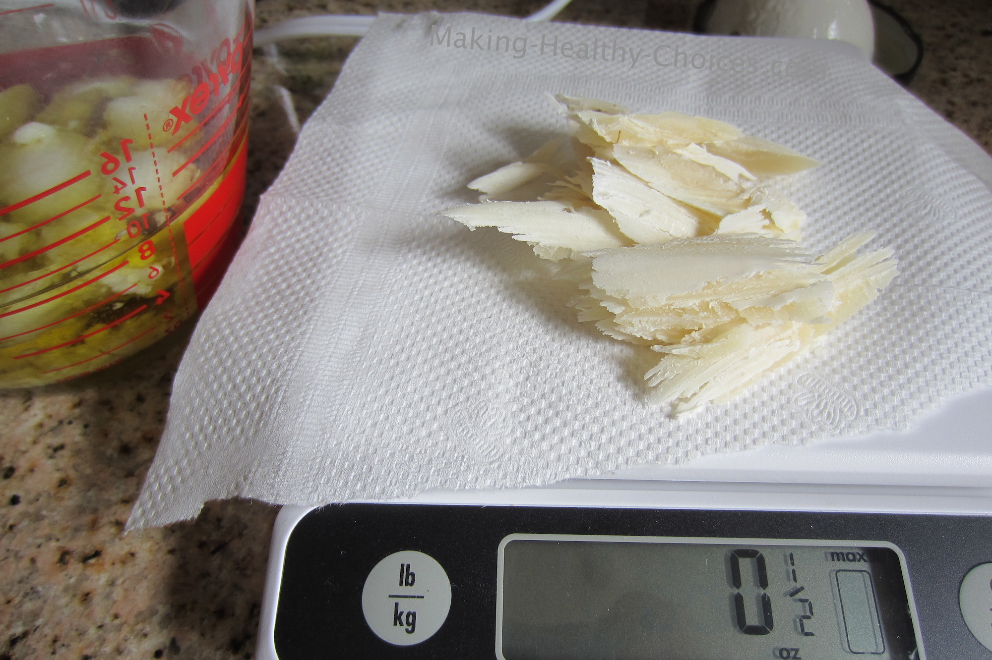 Cutting and Measuring Beeswax